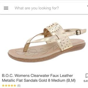 BOC 10 Clearwater gold metallic cutout sandals